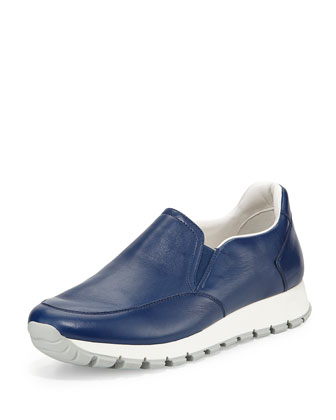 Leather Slip-On Sneaker, Bluette
