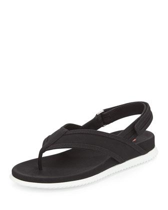 Gabardine Slingback Thong Sandal, Nero