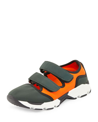 Double Grip-Strap Sneaker, Pine/Orange