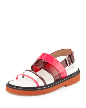 Patent Double-Band Slingback Sandal