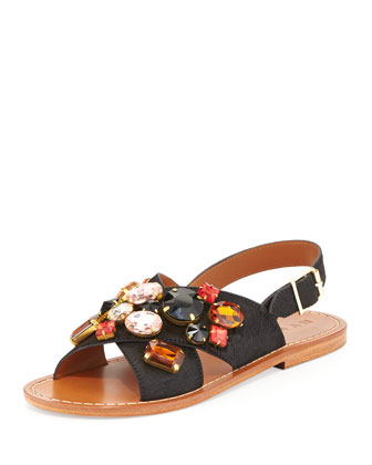 Jeweled Calf Hair Slingback Sandal, Coal