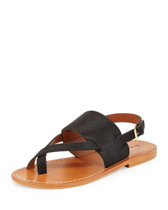 Calf Hair Slingback Thong Sandal, Black
