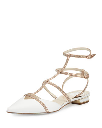 Crystal-Embellished Leather Cage Flat, White