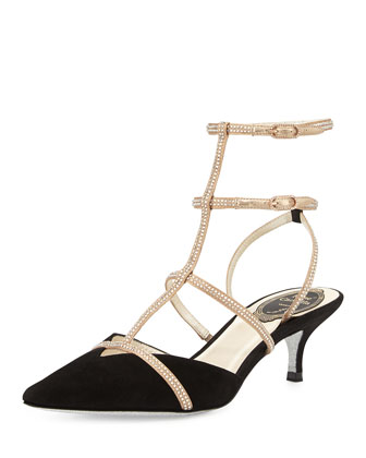 Suede & Crystal Cage Pump, Black/Gold