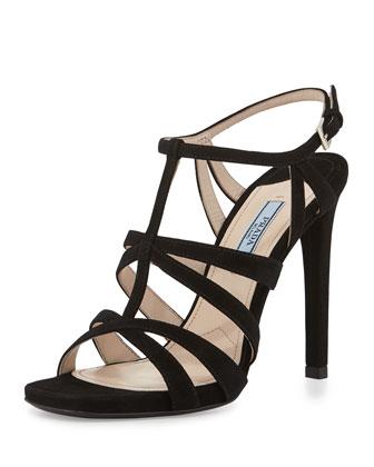 Suede Cage Front Sandal, Black