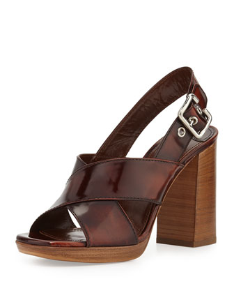 Spazzolato Leather Crisscross Sandal, Tobacco