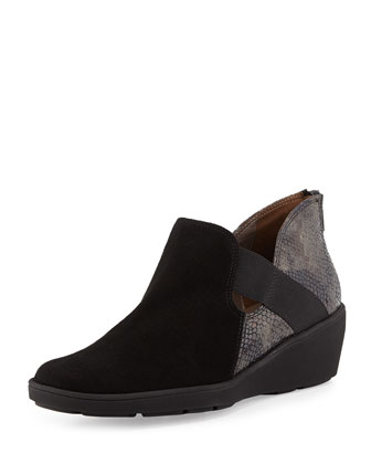Merely Snake-Print Bootie, Black