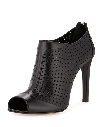 Leather Perforated Peep-Toe Bootie, Nero