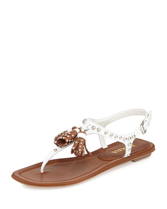 Leather Studded Tassel Sandal, Bianco