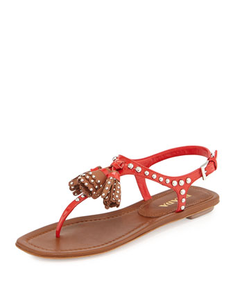 Leather Studded Tassel Sandal, Lacca