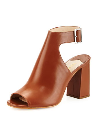 Leather Ankle-Wrap Sandal, Brandy