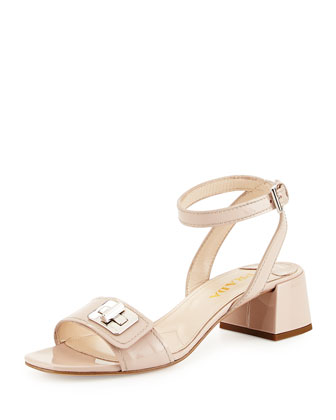 Patent Leather Turnlock Sandal, Cipria
