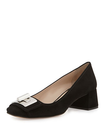 Suede Turnlock Mid-Heel Pump, Nero