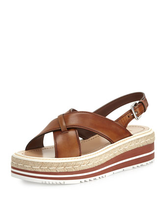Leather Crisscross Platform Sandal, Bruciato