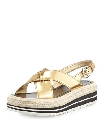Metallic Crisscross Platform Sandal, Platino