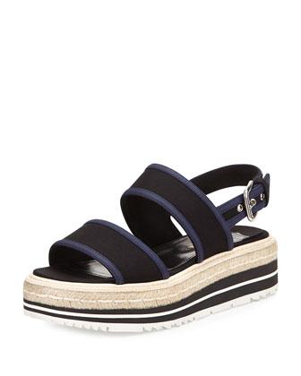 Gabardine Bicolor Espadrille Sandal, Black/Navy (Nero+Baltico)