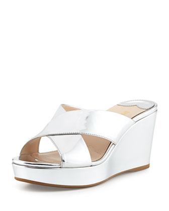 Specchio Crisscross Wedge Sandal, Argento