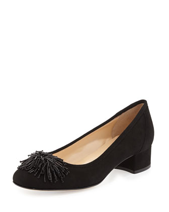 Flynn Beaded Suede Pump, Black