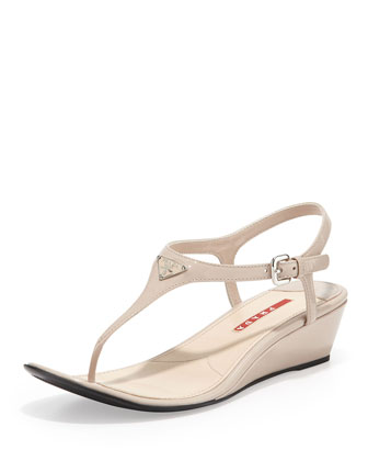 Patent Demi-Wedge Thong Sandal, Nude (Cipria)