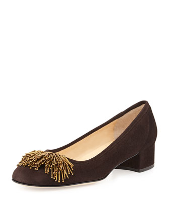 Flynn Beaded Suede Pump, Moro Brown