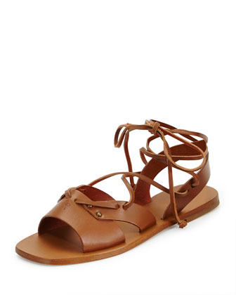 Leather Wide-Strap Gladiator Sandal, Cuir