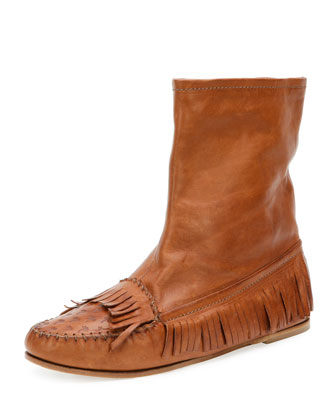 Fringe Moccasin Leather Bootie, Cuir