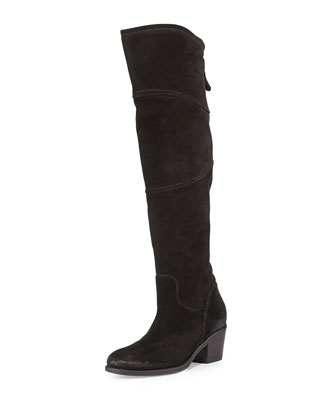 Circio Suede Over-the-Knee Boot, Black
