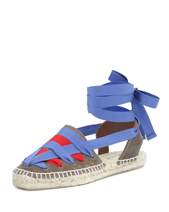 Grosgrain Ribbon Espadrille, Dust/Blood/Klein