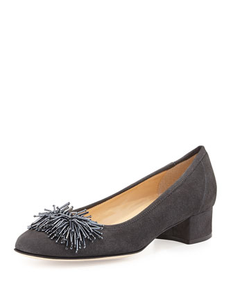 Flynn Beaded Suede Pump, Dark Gray
