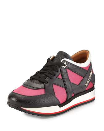 London Lace-Up Sneaker, Geranium/Black