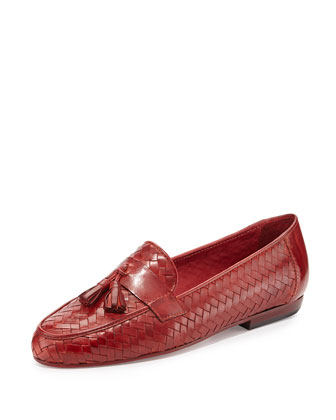 Nedra Woven Tassel Loafer, Red