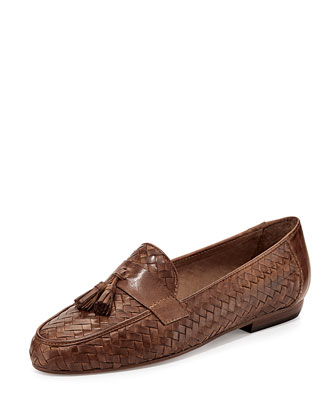 Nedra Woven Leather Tassel Loafer, Camel