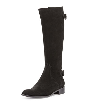 Blyss Suede Riding Boot, Black