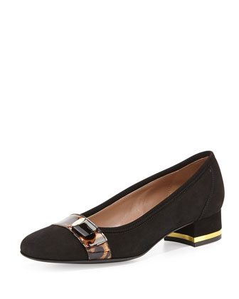 Desia Tortoise-Buckle Suede Pump, Black