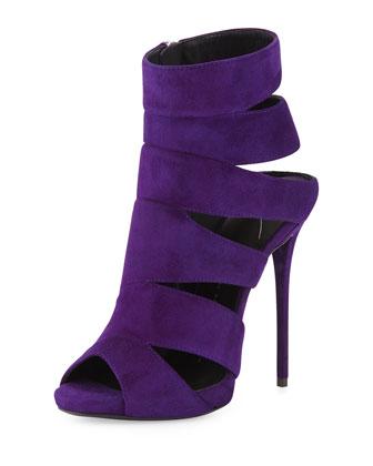 Coline Suede Cutout Peep-Toe Bootie, Purple