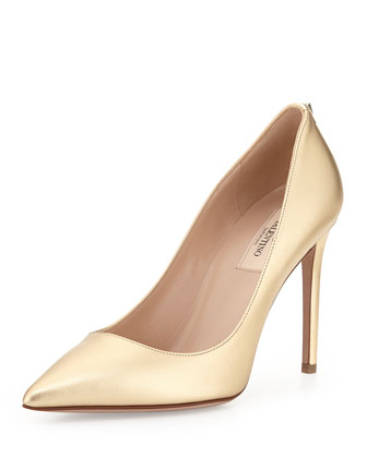 Metallic Leather Pointy Pump, Gold