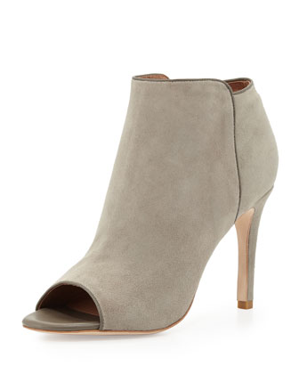 Gwen Suede Peep-Toe Bootie, Light Gray