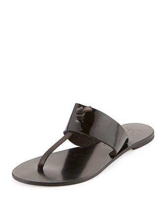Nice Patent Thong Sandal, Black