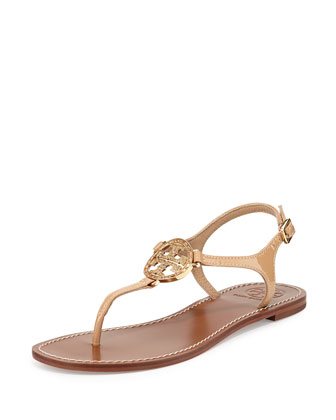 Violet Logo Flat Thong Sandal, Nude