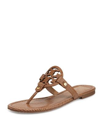 Miller Lizard-Print Logo Thong Sandal, Beige