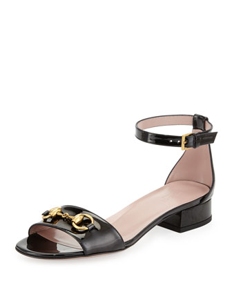 Horsebit Patent Leather Sandal, Black