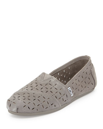 Laser-Cut Suede Slip-On, Gray