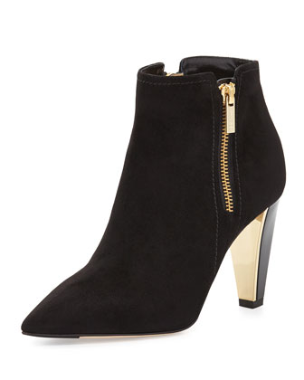 Hughie Side-Zip Suede Ankle Boot, Black