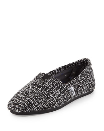 Boucle Woven Slip-On, Black/White