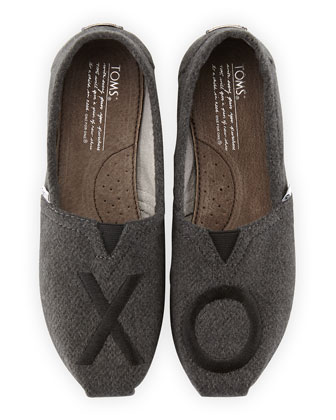 XO Embroidered Wool Slip-On