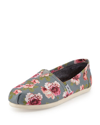 Floral-Print Classic Slip-On, Gray