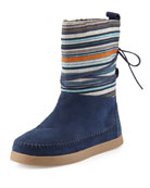 Striped Suede Nepal Boot, Navy