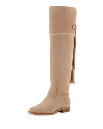 Rhea Flat Suede Fringe Boot
