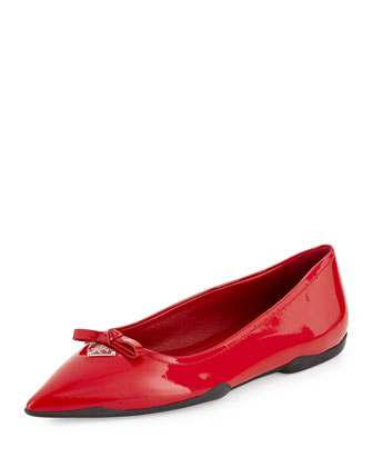 Patent Leather Bow Ballet Flat, Rosso