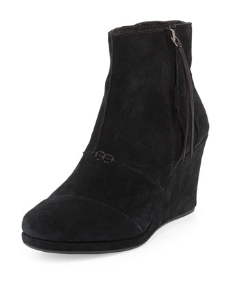 Desert Suede Wedge Boot, Black